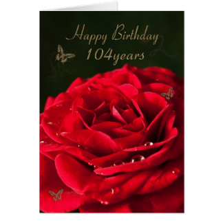 104th Birthday Card with a classic red rose