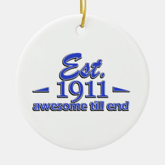 104th birthday designs ceramic ornament