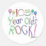 ¡105 años de la roca! pegatinas redondas