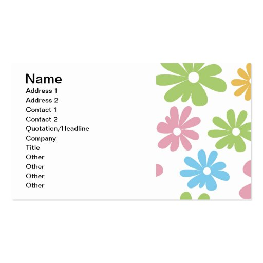 105 COLORFUL VECTOR FLOWERS COLLAGE GRAPHICS TEMPL Double-Sided STANDARD BUSINESS CARDS (Pack OF 100)