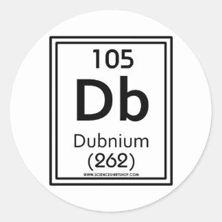 105 Dubnium Pegatina Redonda