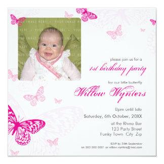 """105 - EL CUMPLEAÑOS DE LA FOTO INVITA:: mariposas Invitación 5.25"""" X 5.25"""""""