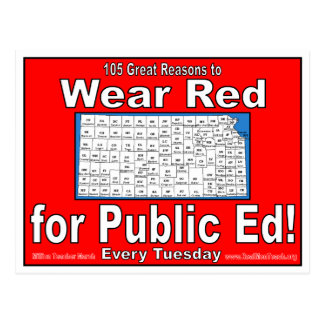 105 Great Reasons to Wear Red For Public Ed Postcard