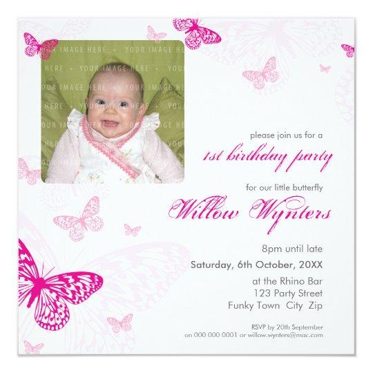 105 - PHOTO BIRTHDAY INVITES :: butterflies 1SQ