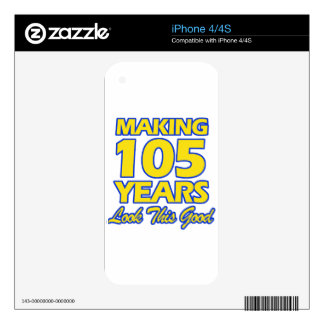 105 YEARS OLD BIRTHDAY DESIGNS iPhone 4 DECAL