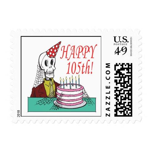 105o feliz sello postal