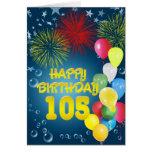 105o Tarjeta de cumpleaños con los fuegos