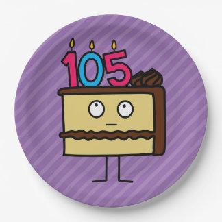105o Torta de cumpleaños con las velas Platos De Papel