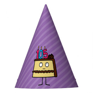 105th Birthday Cake with Candles Party Hat