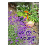 105th Birthday Card for Grandmother - Flowers