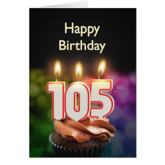 105th Birthday card with Candles