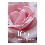 105th Birthday Celebration!-Pretty Pink Rose Personalized Announcement