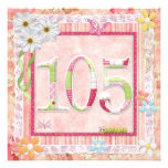 105th birthday party scrapbooking style invitation