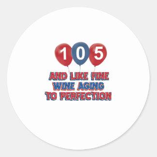 105th year old birthday designs round sticker