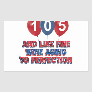 105th year old birthday designs rectangle stickers