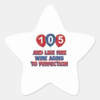 105th year old birthday designs star stickers