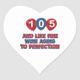 105th year old birthday designs heart stickers