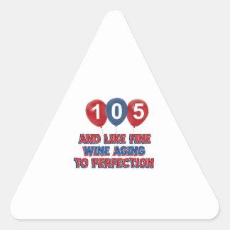 105th year old birthday designs triangle sticker