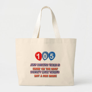 105th year old snow on the roof birthday designs canvas bags