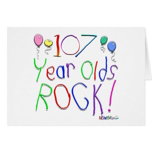 ¡107 años de la roca! tarjeta de felicitación