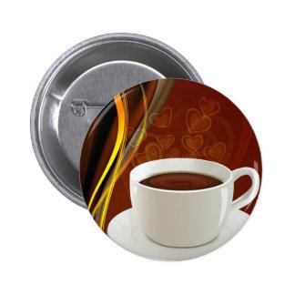 107 HOT MODERN COFFEE STEAM BLACK DARK BROWN YELLO 2 INCH ROUND BUTTON