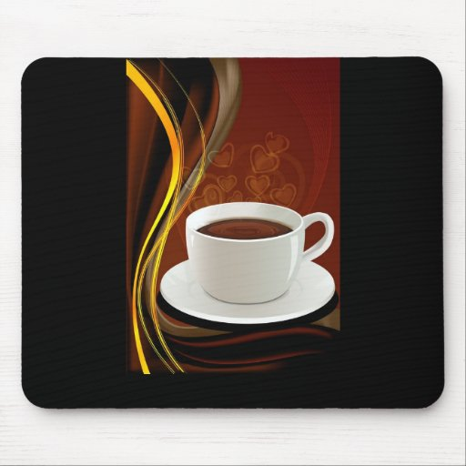 107 HOT MODERN COFFEE STEAM BLACK DARK BROWN YELLO MOUSE PAD