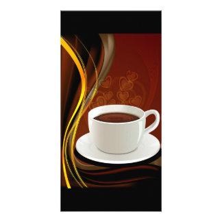 107 HOT MODERN COFFEE STEAM BLACK DARK BROWN YELLO CUSTOM PHOTO CARD