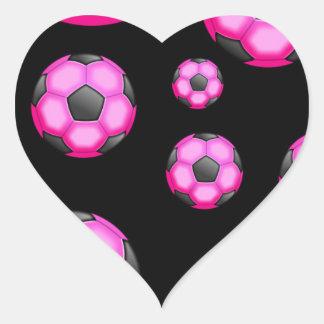 107 PINK SOCCER BALL SPORTS TEAM PATTERN WALLPAPER HEART STICKER