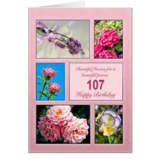107th birthday, beautiful flowers card
