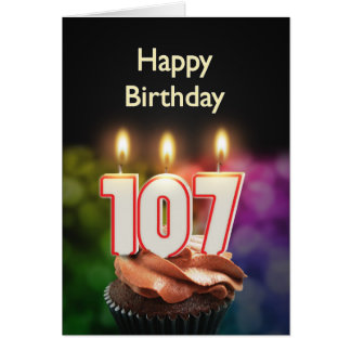 107th Birthday card with Candles