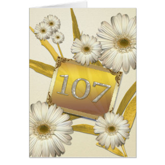 107th Birthday card with daisies.