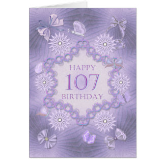 107th birthday card with lavender flowers