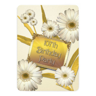 107th Birthday Party Invitation with daisies