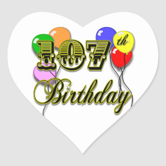 107th Birthday with Balloons Design Heart Sticker
