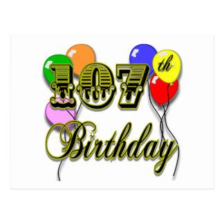 107th Birthday with Balloons Design Postcard