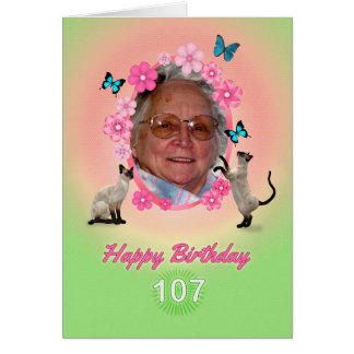 107th photo card with cats and butterflies,