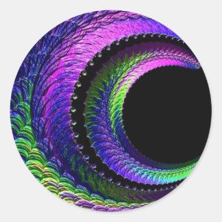 108-40 dark rainbow crescent moon classic round sticker