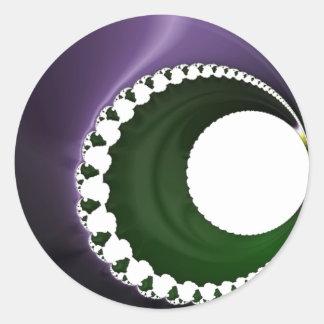 108-42 purple & green crescent moon classic round sticker
