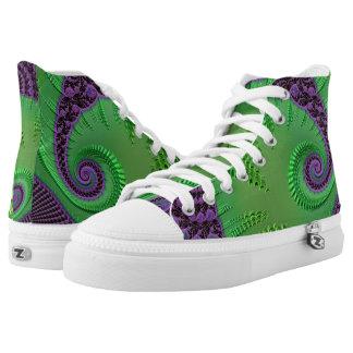 108-78 big green leaf on purple High-Top sneakers
