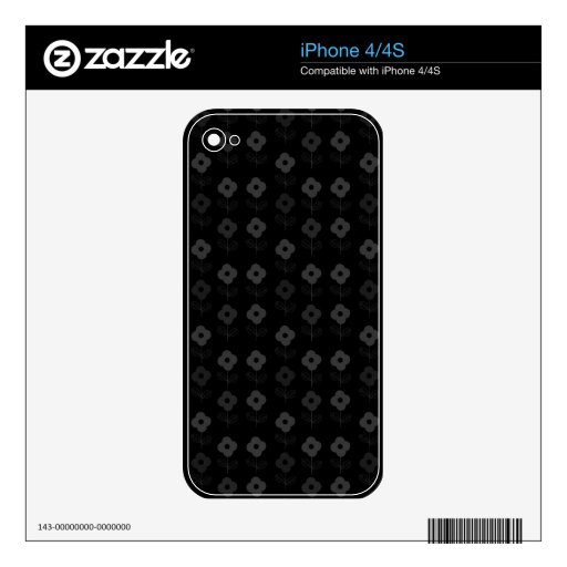 108 BLACK GREY GRAY FLORAL FLOWERS CARTOON PATTERN SKIN FOR THE iPhone 4