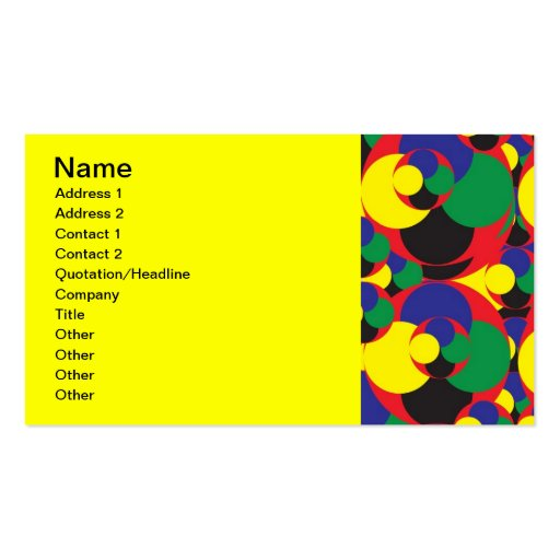 108 RANDOM ABSTRACT ROUND CIRCLES COLORFUL SHAPES BUSINESS CARD