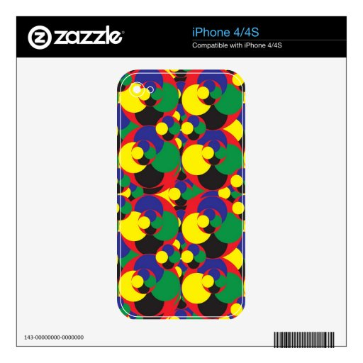 108 RANDOM ABSTRACT ROUND CIRCLES COLORFUL SHAPES iPhone 4 SKIN