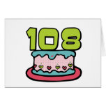 108 Year old Birthday Cake Greeting Cards