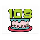 108 Year Old Birthday Cake Postcard