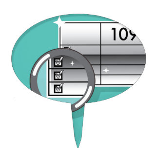 1099 Tax Form Zoom through Magnifying Glass Cake Topper