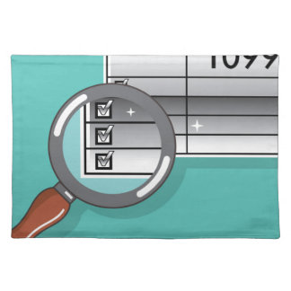 1099 Tax Form Zoom through Magnifying Glass Cloth Placemat