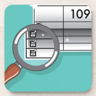 1099 Tax Form Zoom through Magnifying Glass Coaster