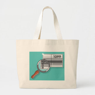 1099 Tax Form Zoom through Magnifying Glass Large Tote Bag