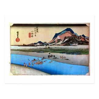 10. 小田原宿, 広重 Odawara-juku, Hiroshige, Ukiyo-e Postcard