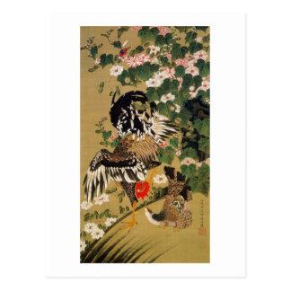 10. 芙蓉双鶏図, 若冲 Chinese Hibiscus & Rooster, Jakuchū Postcard